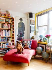 Bright-cheap-chaise-lounge-in-Living-Room-Eclectic-with-Bookshelf-Decoration-next-to-Wood-Wall-Art-alongside-Decorating-Art-Niches-andDecorating-A-Studio-Apartment-