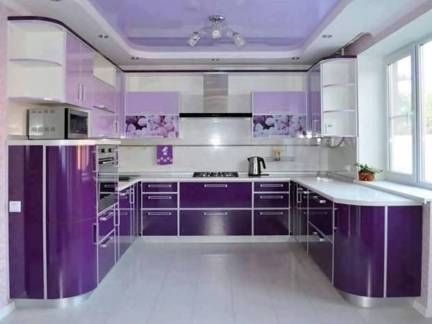 diseño de cocina 21 blanco y violeta